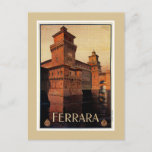 Vintage Ferrara Italian travel poster Postcard