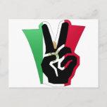 Mexico Peace Fingers Flag Postcard