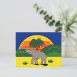 Gold Coast Elephant and Palm Tree Postcard