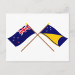 New Zealand and Tokelau Crossed Flags Postcard