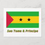 Sao Tome & Principe Flag with Name Postcard