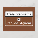 Red Beach, Rio de Janeiro, Brazil Traffic Sign Postcard