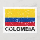 Colombia Vintage Flag Postcard