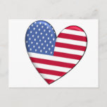 United States Heart Flag Postcard