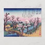 Evening Glow at Koganei Bridge, Ando Hiroshige Postcard