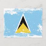 Grunge Saint Lucia flag Postcard