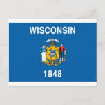Wisconsin  Official State Flag Postcard