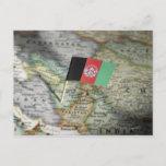 Afghanistan flag in map postcard