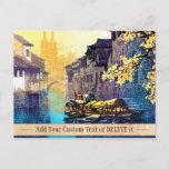 Chou Xing Hua Suzhou Scenery river sunset painting Postcard