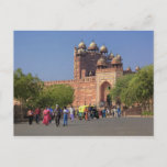 Tourists in front of Fatehpur Sikri, in the Postcard