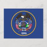 Postcard with Flag of Utah State - USA