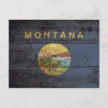 Montana State Flag on Old Wood Grain Postcard