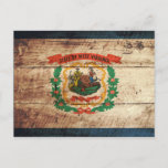 West Virginia State Flag on Old Wood Grain Postcard