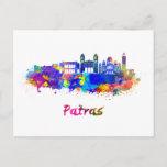 Patras skyline in watercolor postcard