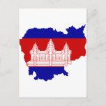 Cambodia Flag map KH Postcard