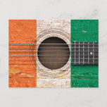 Ivory Coast Flag on Old Acoustic Guitar Postcard