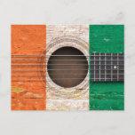 Ivory Coast Flag on Old Acoustic Guitar Postcard