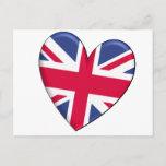 United Kingdom Heart Flag Postcard