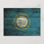 South Dakota State Flag on Old Wood Grain Postcard
