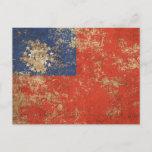 Rough Aged Vintage Myanmar Flag Postcard