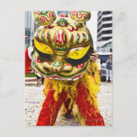 Two people in Chinese dragon costume, Qingdao, Postcard