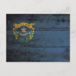 Nevada State Flag on Old Wood Grain Postcard