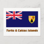 Turks & Caicos Islands Flag with Name Postcard