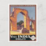 Vintage Delhi India Railways Postcard