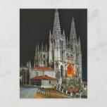 Vintage Spain, Burgos, Cathedral,  by night Postcard