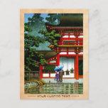 Cool oriental japanese classic temple rain art postcard