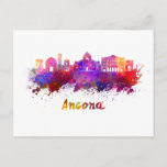 Ancona skyline in watercolor postcard