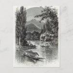 View near Serinugur, from 'Leisure Hour', 1888 Postcard