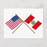US and Peru Crossed Flags Postcard