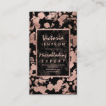 Modern faux rose gold brushstrokes Microblading Business Card