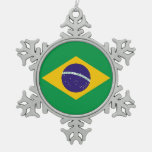 Snowflake Ornament with Brazil Flag