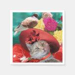 CELEBRITY CAT PRINCESS TATUS, RED HAT WITH PIGEON NAPKIN