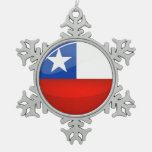 Glossy Round Chilean Flag Snowflake Pewter Christmas Ornament
