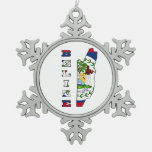 Flag in Map of Belize Snowflake Pewter Christmas Ornament