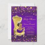 African American Princess Purple Gold Baby Shower Card