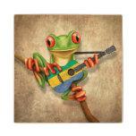 Tree Frog Playing Gabon Flag Guitar Wood Coaster