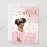 Pink Gold African American Princess Baby Shower Card
