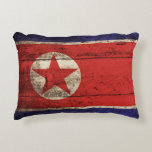 North Korea Flag on Old Wood Grain Accent Pillow