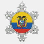 Ecuador country flag symbol long snowflake pewter christmas ornament