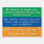 Welcome Neighbors Sign - Spanish, English, Arabic