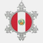 Snowflake Ornament with Peru Flag