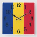 Flag of Romania Square Wall Clock
