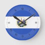The flag of El Salvador Round Clock