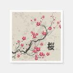 Oriental Style Sakura Cherry Blossom Art Paper Napkin