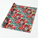 CELEBRITY CAT PRINCESS TATUS, RED HAT WITH PIGEON WRAPPING PAPER