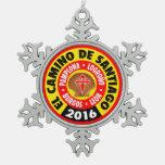 El Camino de Santiago 2016 Snowflake Pewter Christmas Ornament